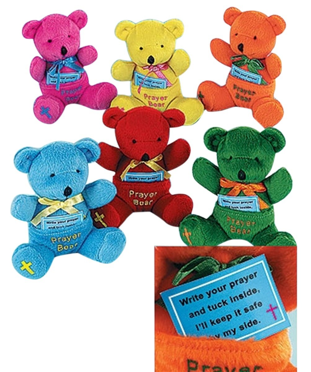 Religious Gifts for Children Assorted Color Plush Prayer Bears with Blessing Storage Pouch, Pack of 12, 4 1/2 Inch