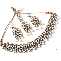 I Jewels Traditional Party Wear Bridal Choker with Earrings & Maang Tikka Jewelry Set for Women (IJ165)