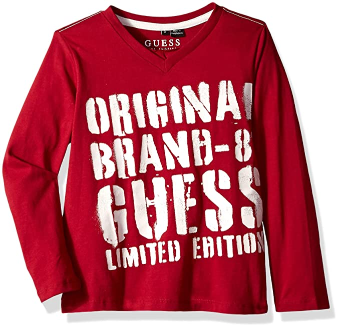 quality design 5f2a3 d855c Guess T Shirt Manica Lunga Bambino Rosso Amaranto: Amazon.it ...