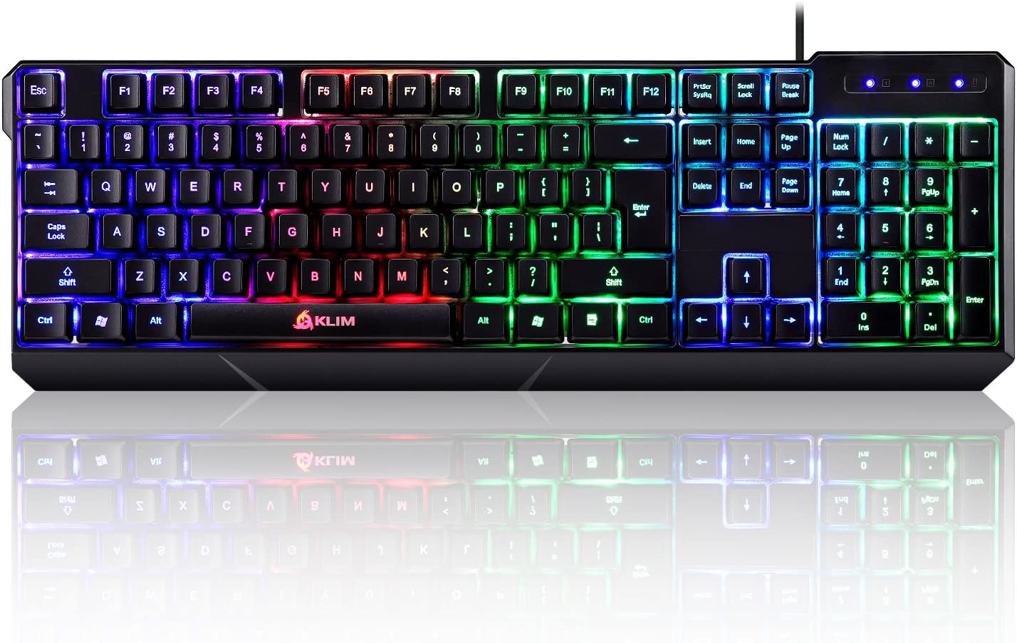Klim Chroma Backlit Gaming Keyboard Wired Usb Votre Led Rainbow Lighting Ergonomic Quiet Water Resistant Black Rgb Pc Windows Ps4 Mac
