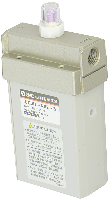 SMC IDG5H-N02-S Membrane Air Dryer, 1/4' NPT, Outlet Air Flow 50 L/min; Purge Air Flow 12 L/min, -15 degrees Celsius Dew Point, with Dew Point Indicator