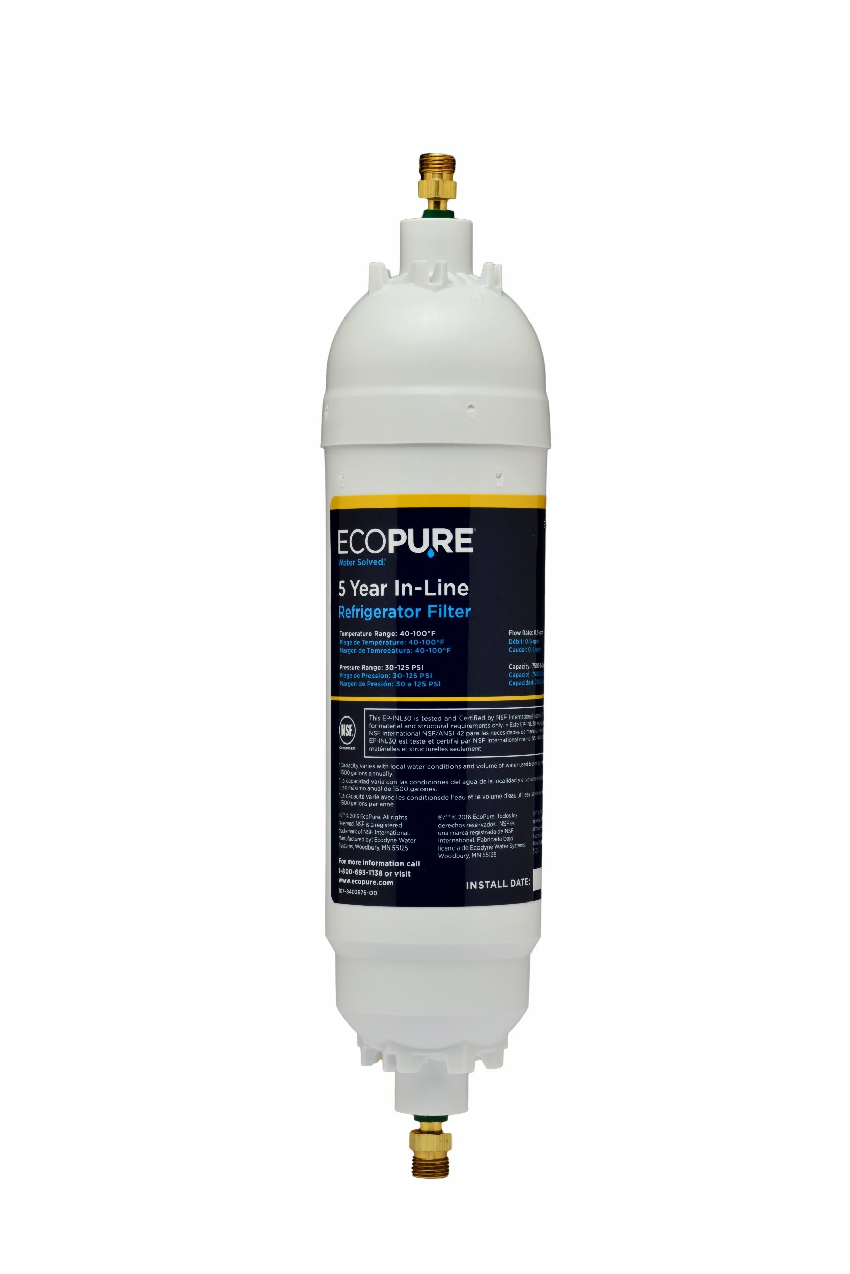 EcoPure EPINL30 5 Year in-Line Refrigerator Filter-Universal Includes Both 1/4'' Compression and Push to Connect Fittings by EcoPure