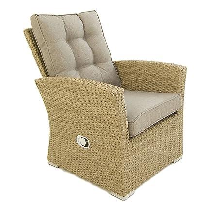Edenjardi Sillón de Exterior | Sofá reclinable | Color Natural | Aluminio y rattán sintético | Tamaño:80x72x93 cm | Cojines Color marrón incluidos | ...