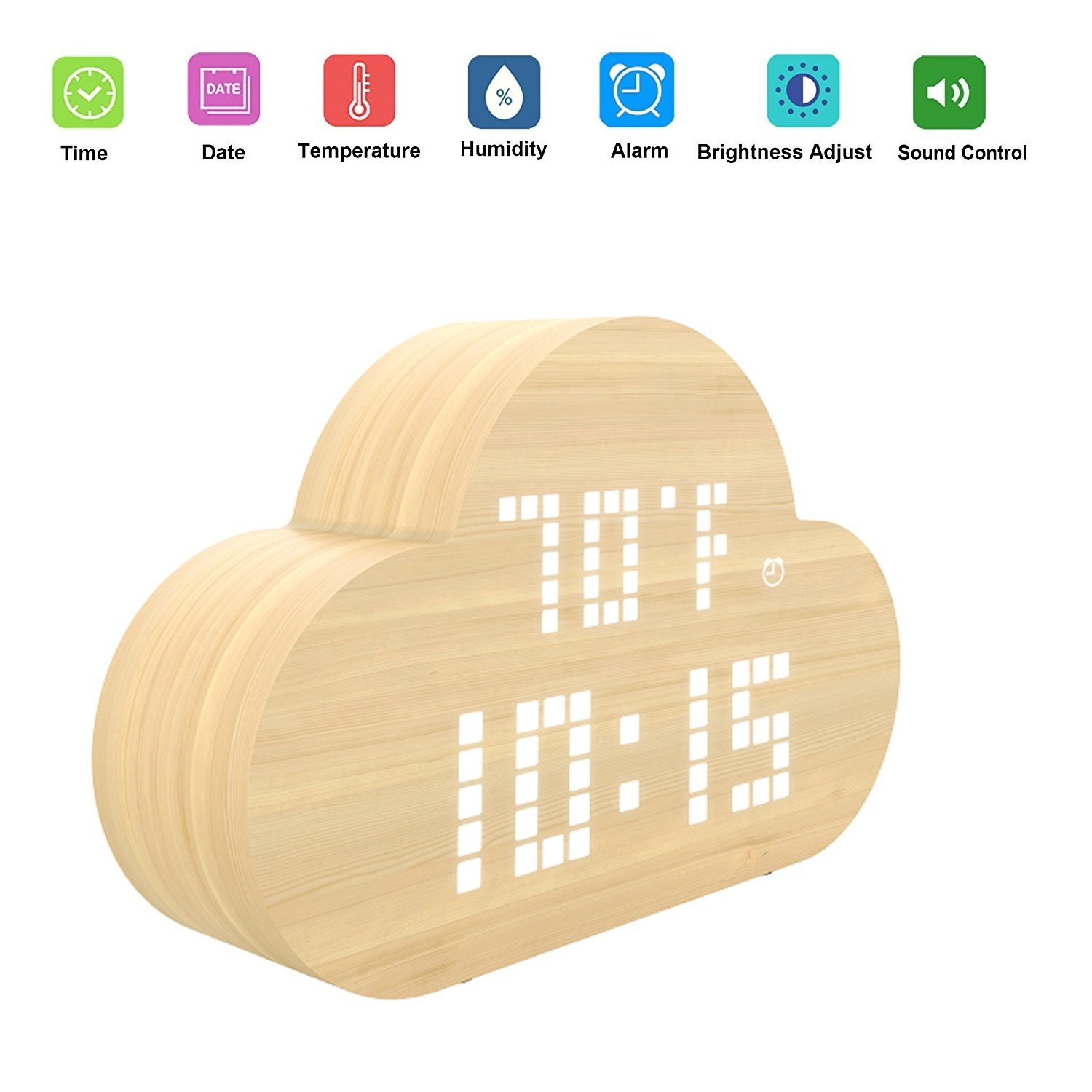 Digital Alarm Clock, ALED LIGHT Wood LED Alarm Clock Adjustable Light Temperature and Humidity Display USB Charging Cloud Desk Clock Applying Voice Control Function with Advance Seamless Appearance, Ideal Timer for Bedroom/ Living Room/ Library LUXONIC