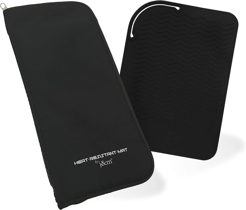 Estuche para alisar el cabello y alfombra de silicona con bolsa térmica - Bolsa de viaje y alfombra con cremallera con bolsillos para peines, clips y más | Ideal para viajar y