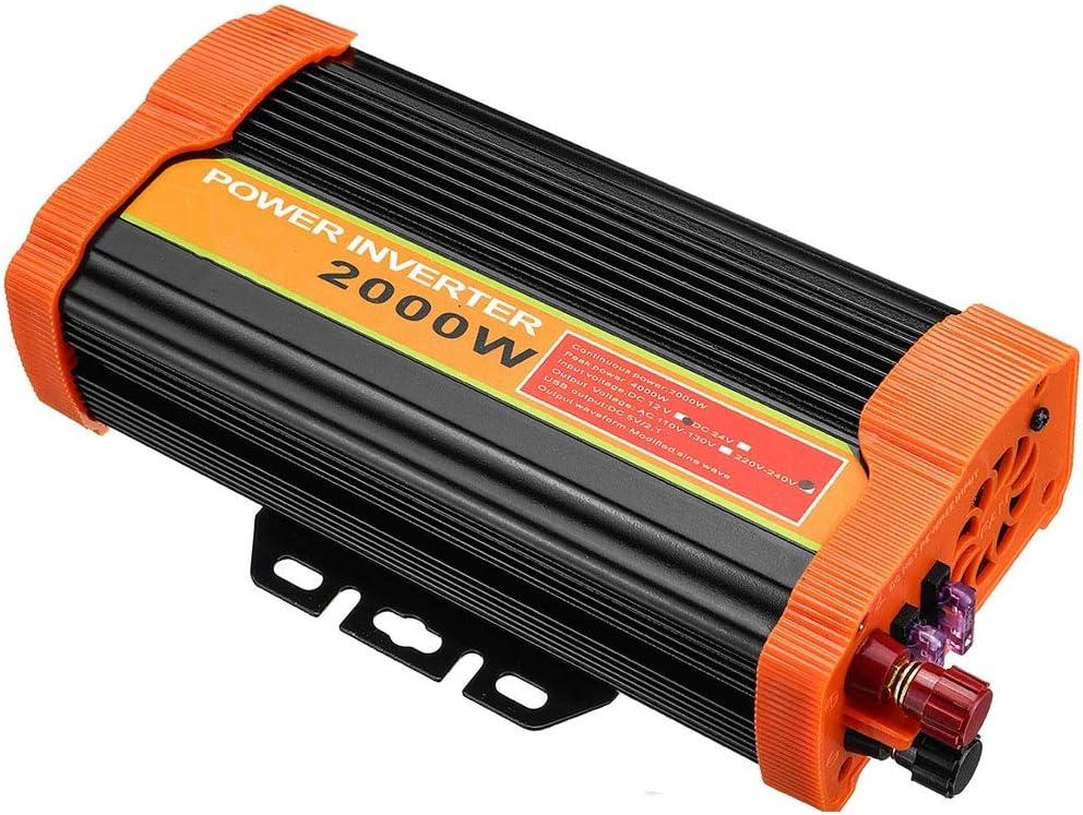ZHANGJA Inversor De Corriente De 4000 Vatios MáXimo 12 V A 220 Voltios Adaptador De Coche USB Dual Convertidor De Carga Transformador USB De Onda Sinusoidal Modificada 2000w