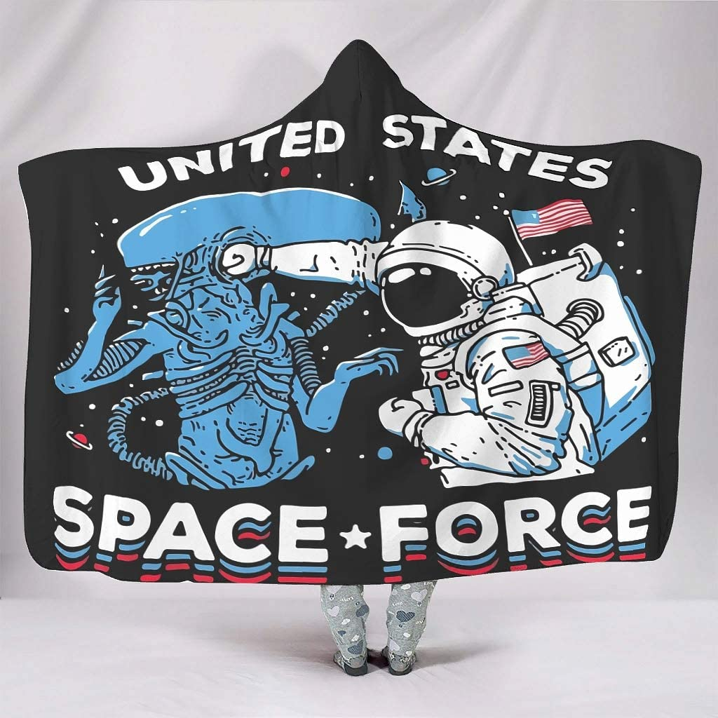 Sheeouis US Space Force Theme Hooded Blanket Lightweight Winter Throw Blanket Plush Fleece Hoodie Cloak Mens Women Kids White 60x80 inch