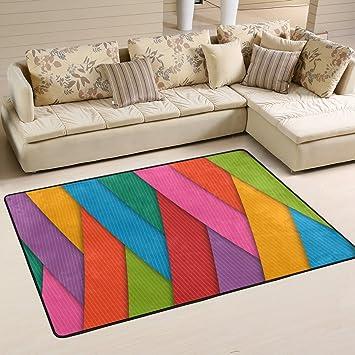 Bennigiry Polyester Modern Bereich Teppich, Bunt Tie Dye Regenbogen Linien Teppich  Wohnzimmer Schlafzimmer