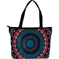 Mandala Pattern Leisure Large Colored Cotton Tote Bags Ladies Fashion Handbags For Teen Girls Women With Multi Inner…