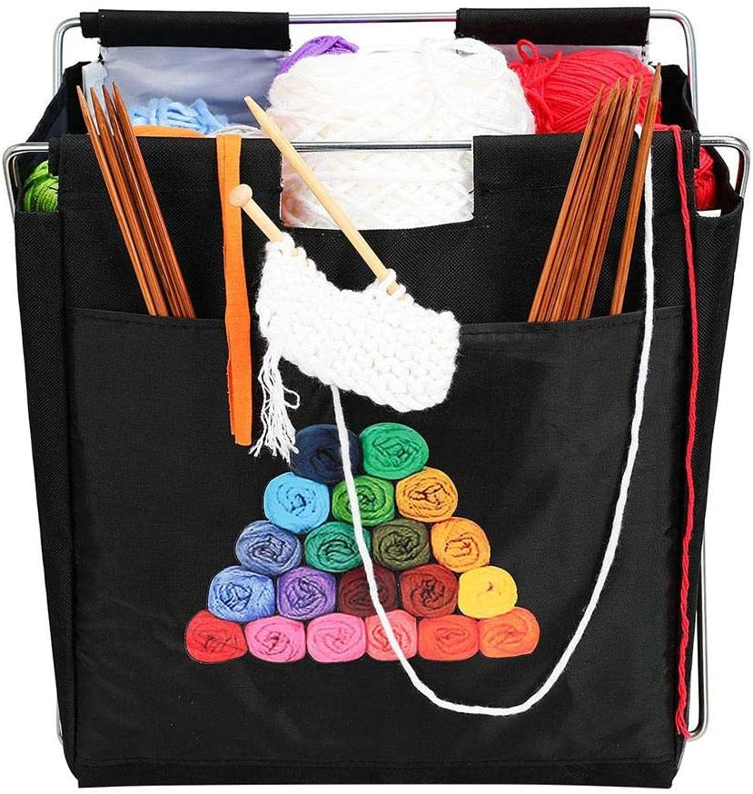Tangle Free Yarn Caddy Bag Organizer for Tools /& Travel Deluxe Fold-Up Needle Yarn Arts Caddy Needle Storage Bag for Knitting,Yarn,Crotchet
