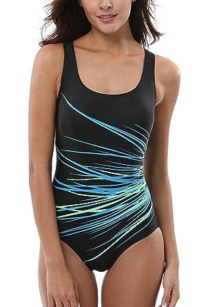 01efb968a34e Leslady Maillot de Bain Femme Sport 1 Pièce Natation Body Guide Swimwear  Amincissant à Rayures Multicolore