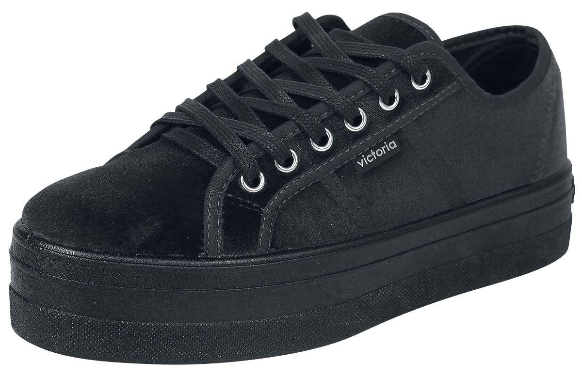 Victoria Basket Terciopelo, Zapatillas para Mujer 39 EU Negro (Negro 10)