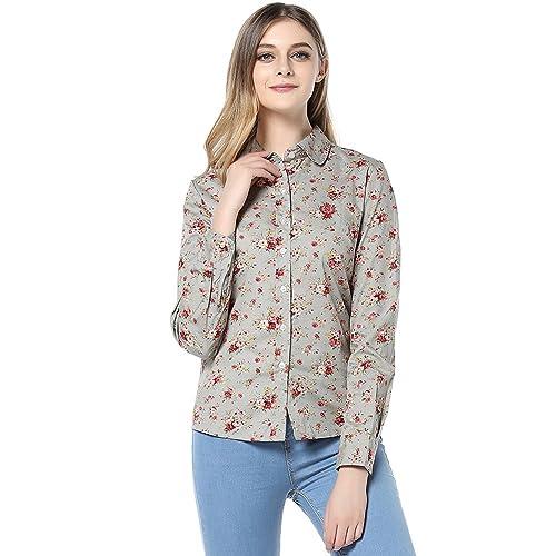 ASAP De Las Mujeres Largo Manga Algodón Impresión Camisa 1700AA