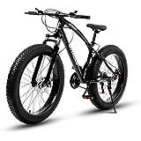 Max4out Fat Tire Mountain Bike 21 Speed 26 inch Wheels Double Disc Brake Suspension Fork Suspension Anti-Slip Bikes (Black/Wh