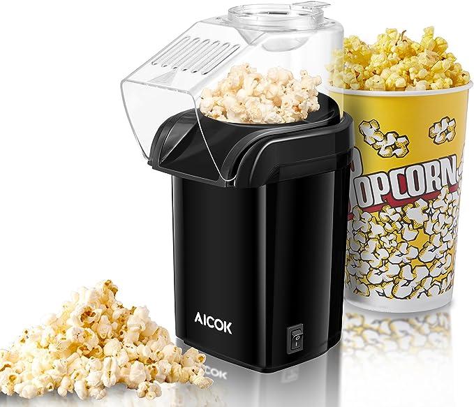 Aicok Palomitero portátil, Máquina de Palomitas, Palomitero de Aire Caliente Sin Aceite, Diseño Con Apertura Amplia, Vaso Medidor, Tapa Removible, Aprobada por FDA y Libre de BPA, 1200W: Amazon.es