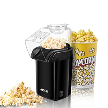 Amazon.com: Aicok Popcorn Maker, Hot Air Popcorn Popper with Measuring Spoon, No Oil Needed, Removable Lid, Black: Kitchen & Dining