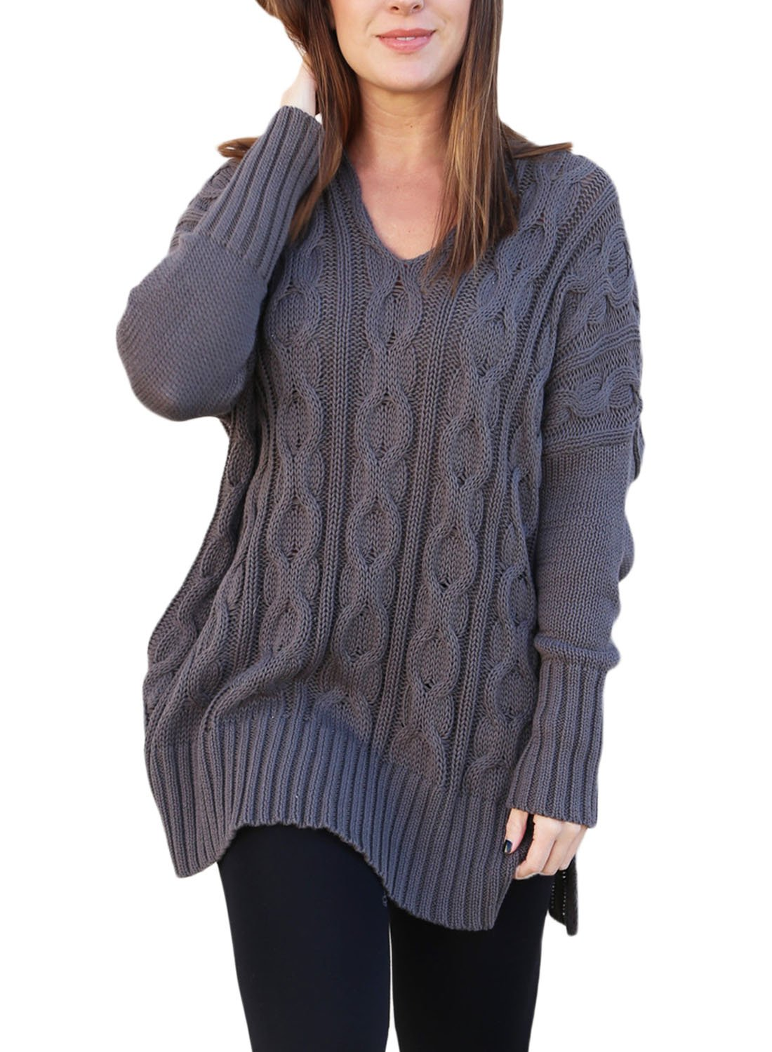 Sidefeel Women Casual V Neck Loose Fit Knit Sweater Pullover Top XX-Large Grey by SIDEFEEL