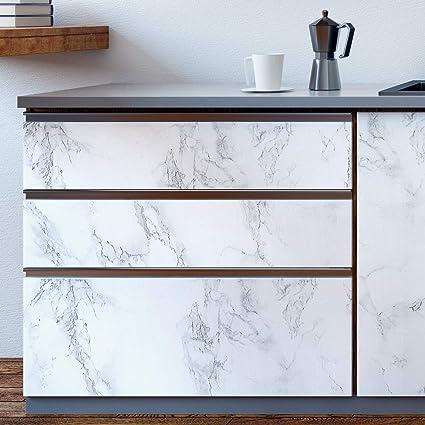 HOMTORA Marmor Folie 10x10cm arbeitsplatte Folie selbstklebend möbelfolie  klebefolie PVC wasserdicht dekorfolie für möbel küche Schrank Wand Tür