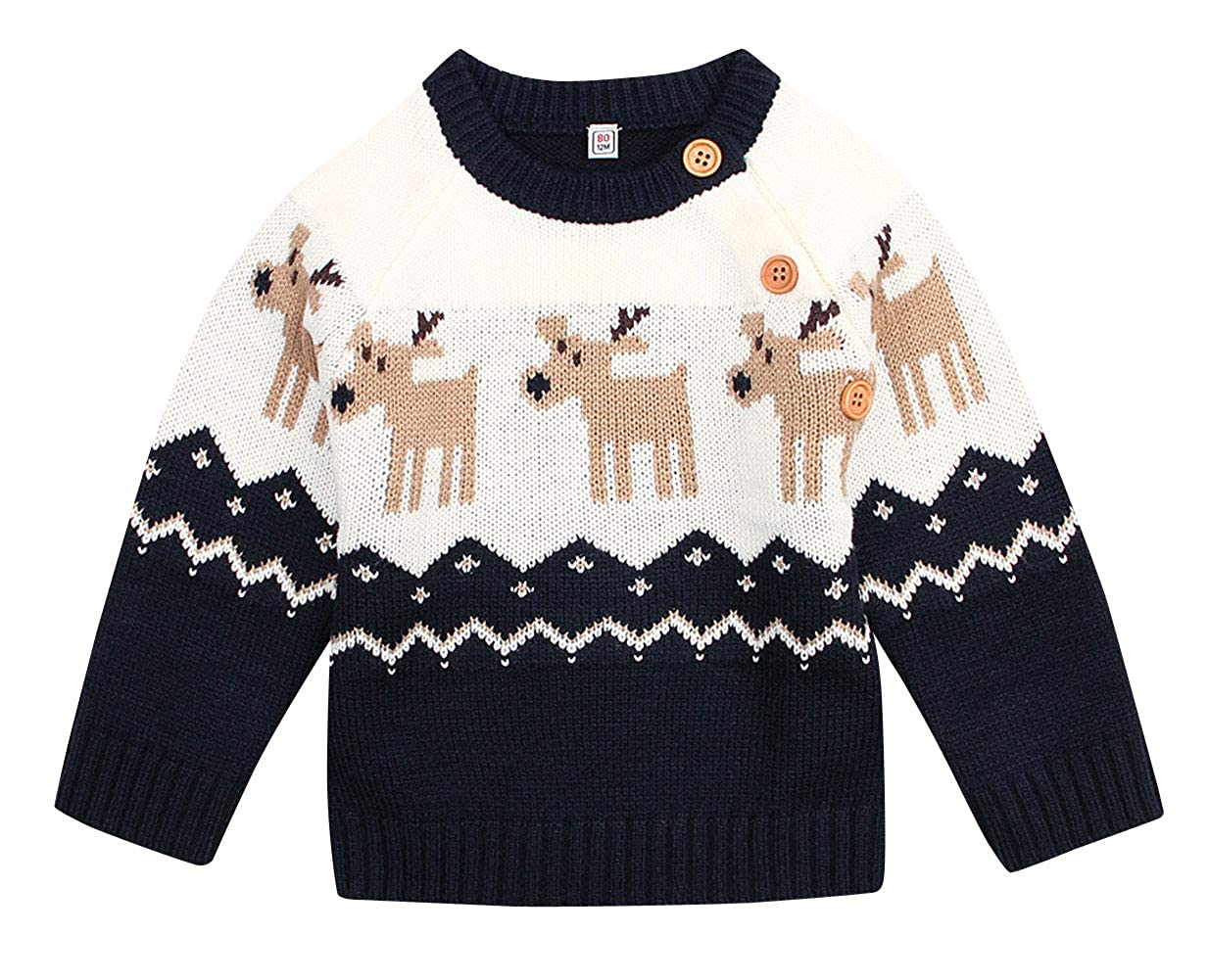 Happy Cherry Unisex Baby Pullover Toddler Christmas Button-up Deer Sweater