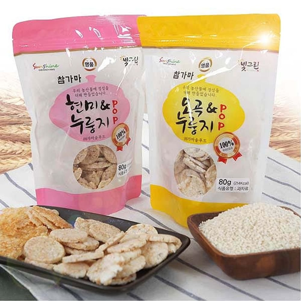 Handmade 5 kinds grain POP 60g x 10 pieces Nurungji overcooked rice by Chamgama