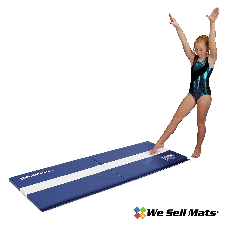 4c48e9be37ca Amazon.com : We Sell Mats 2' x 6' Folding Cartwheel Tumbling Exercise Mat,  Blue : Gymnastics Tumbling Mats : Sports & Outdoors