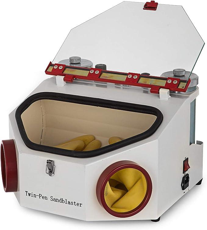 Chrisun Sandblast Cabin 2 Pen 2 R/éservoirs Sand Blaster 4KG//CM Laboratoire Dentaire Sandblaster LED Sableuse L/ég/ère Avec Sableuse Avec P/édale De Commande 2 Stylos