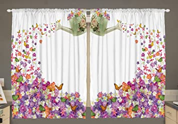 Kitchen Curtains By Ambesonne Flowers In The Pot And Flower Water Pail 55 W X 39