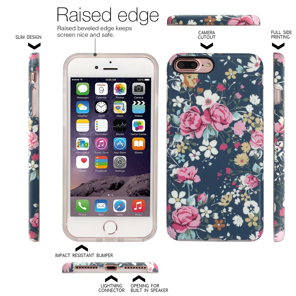 Nasousa iPhone 7 plus for Girls,Floral case,IMD Printing Slim-Fit Ultra-Thin Anti-Scratch Shock Proof Dust Proof Anti-Finger Print TPU Case for iPhone 7 plus(5.5 inch)(Vintage Roses)