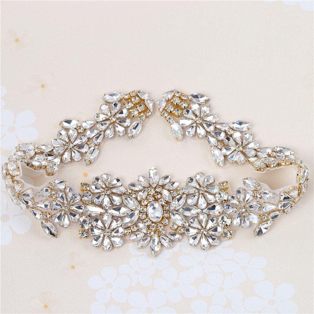 Wedding Belt Applique Rhinestones Bridal Trim Handmade Hot Fix for DIY Wedding Dresses Belts and Sashes Silver