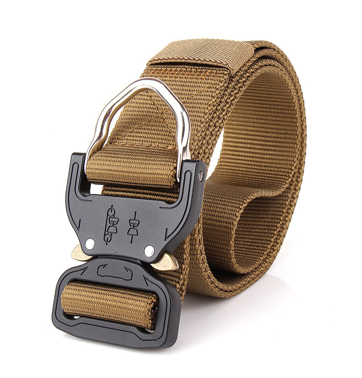 Lemu Tactical Rigger's Belt, Military Style Webbing Riggers Nylon Web Belt Khaki