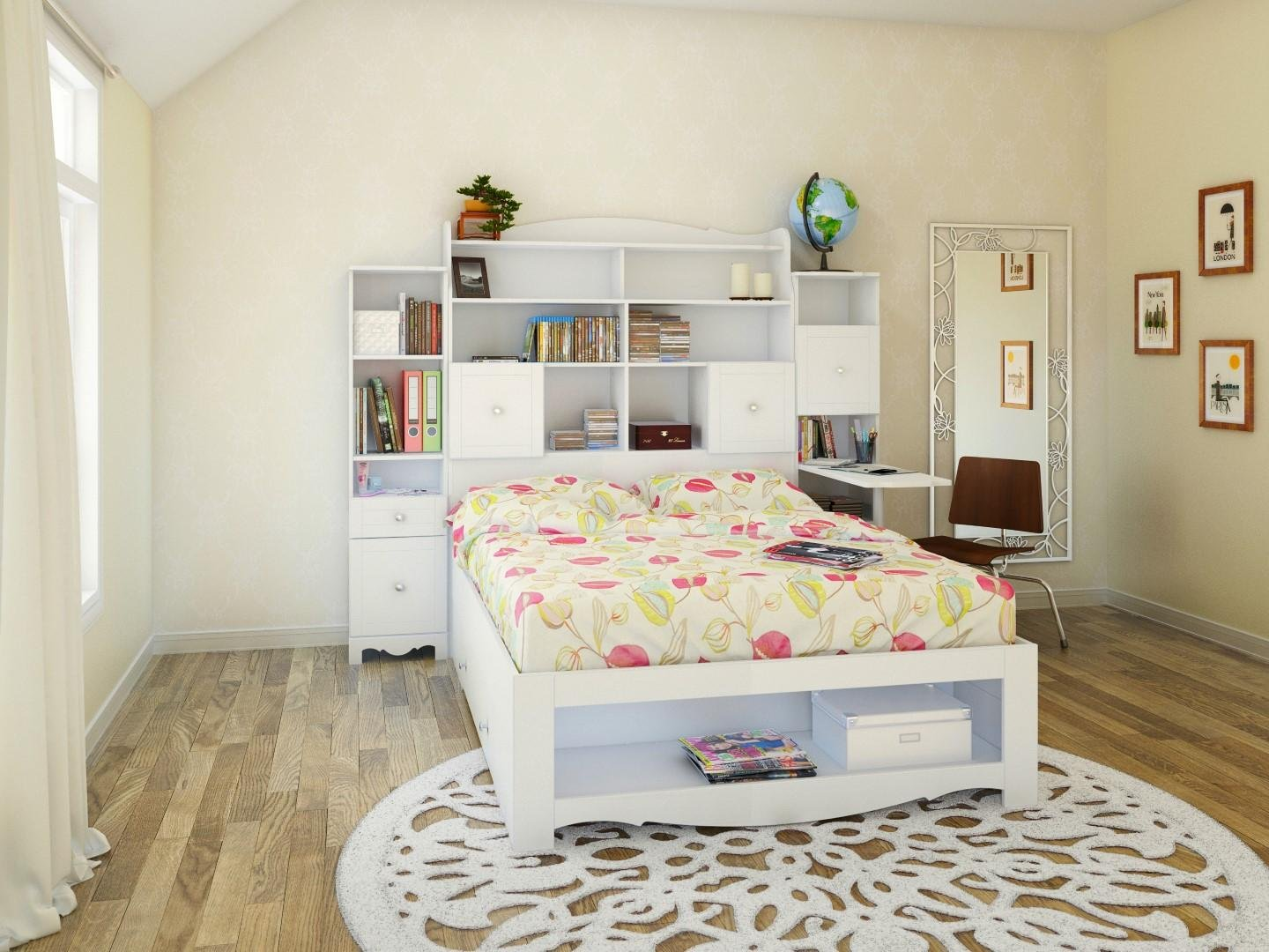 Pixel 1-Drawer Storage Bed with Tall Bookcase Headboard Set Full