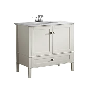36 in bathroom vanity with top. Simpli Home Chelsea 36 quot  Bath Vanity with White Quartz Marble Top Soft