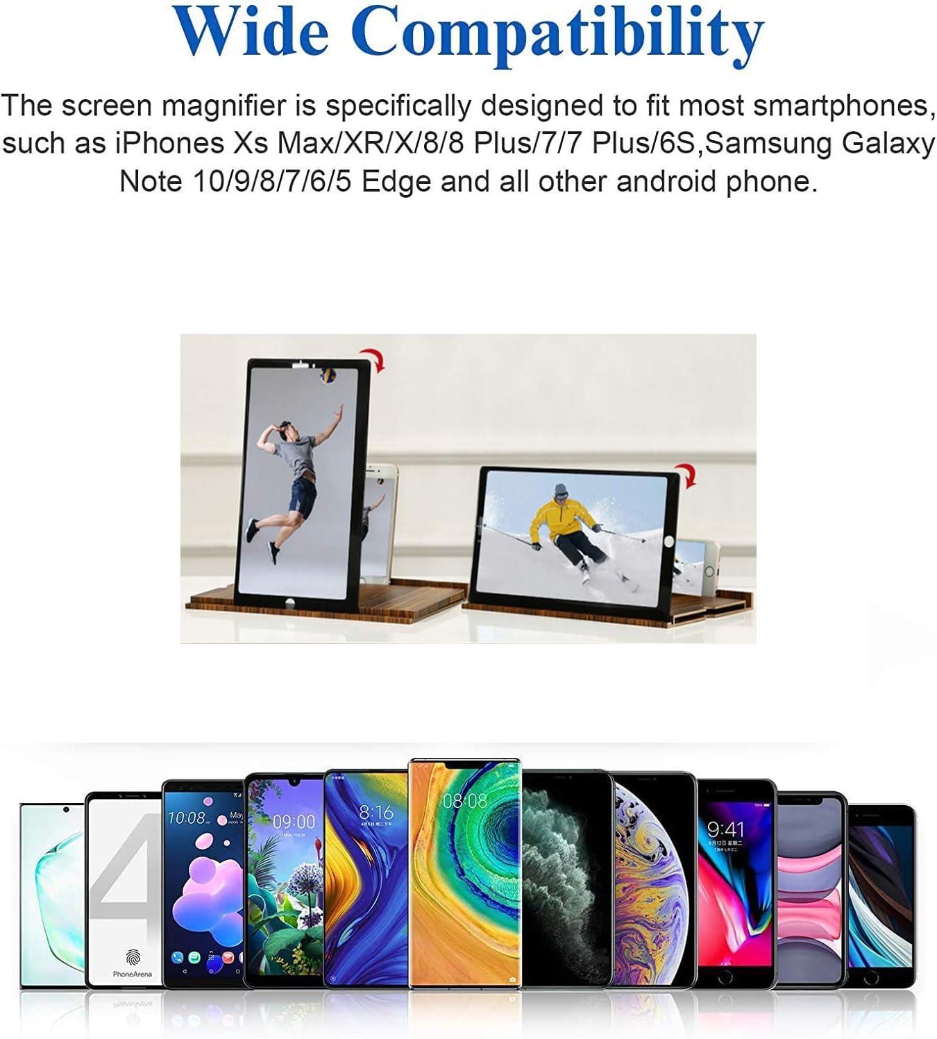 Soporte Ampliador pantalla de tel/éfono m/óvil plegable de grano de madera s/ólida En 3D,adecuada de Pantalla Ver Videos de pel/ículas en Todos los tel/éfonos Inteligentes 12 Lupa de pantalla dorado