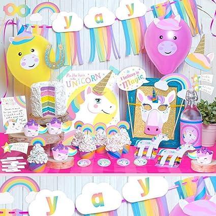 Amazon Com Rainbow Unicorn Theme Party Decoration Kit Mermaid