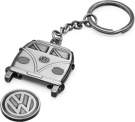 Volkswagen 1h1087703 Schlüsselanhänger T1 Bulli Antiksilber Zink Spritzguss Mit Einkaufschip Auto