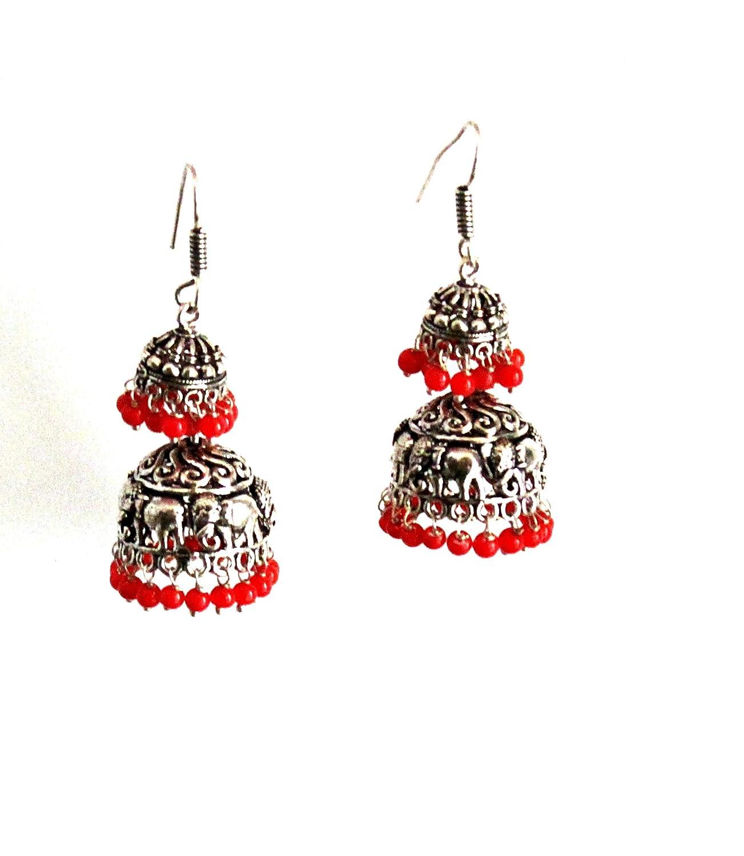 Bollywood Oxidized Traditional Fashion Bohemian Danglers Jhumka Jhumki Chandbali Indian Hook Earrings