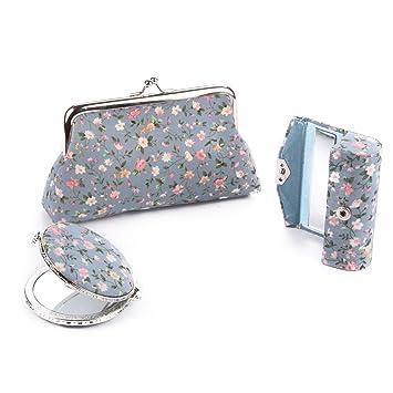 Ezeso 3 in 1 Floral Cosmetic Organizer Lipstick Mirror Butterfly Kiss-Lock Case  Set 907e3fccf305f