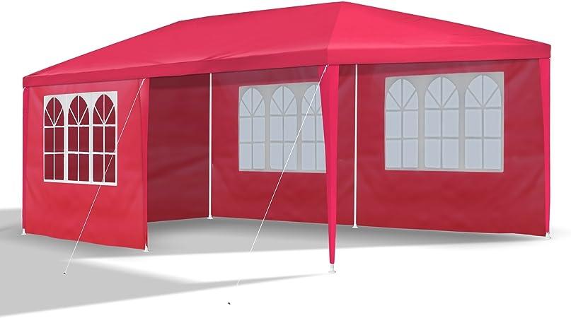 : Festzelt 6x3 m Partyzelt mit 6 Seitenwänden Rot