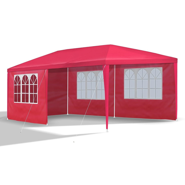 JOM 127129 Gazebo da Giardino, 3 x 6 m, con 6 pareti Laterali, 4 con finestre e 2 Chiuse, giunzioni plastiche, Impermeabile, con picchetti e Corde di Tensione, Rosso