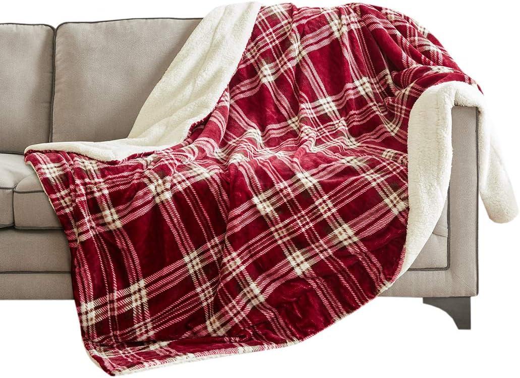 NOUVEAU 125 cm x 150 cm hiver été Tartan Carreaux Polaire Fleece Throw Blanket Blue