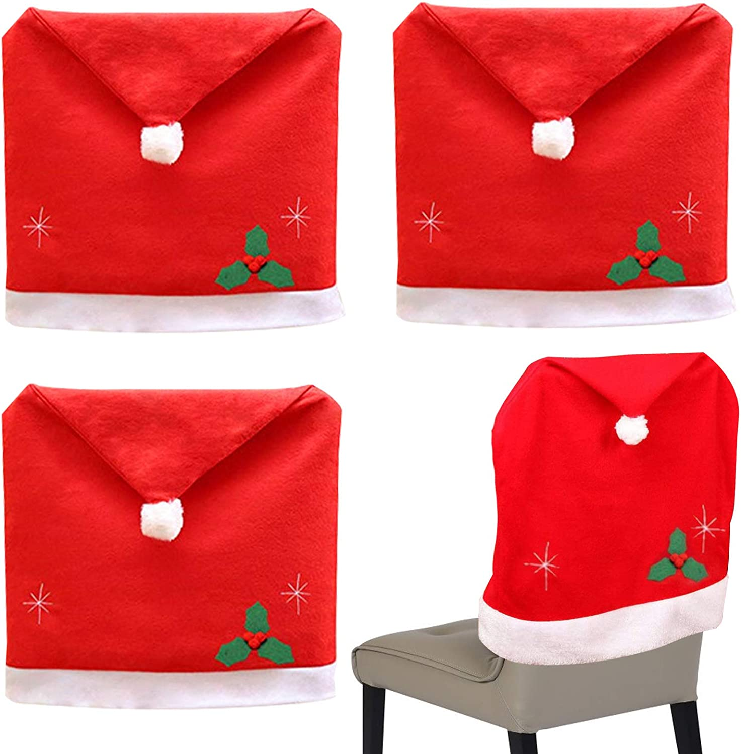 Amazon Com Koogel Christmas Dining Chair Slipcovers 4 Pcs 25 X 20 Inch Chair Back Covers Santa Hat Chair Covers For Christmas Banquet Holiday Festival Decor Kitchen Dining