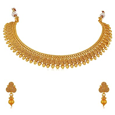 5c2eef124 Buy MEENAZ 1 Gram Gold Plated Jewellery Set with Earrings for Women/Girls  Online at Low Prices in India | Amazon Jewellery Store - Amazon.in
