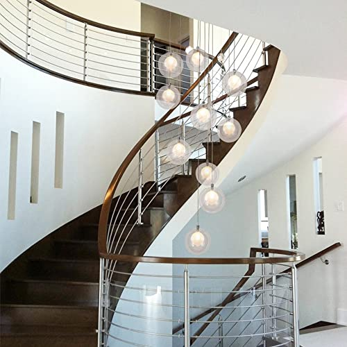 BDS lighting Staircase Chandeliers Glass Ball Multi Lights Modern Creative Living Room Pendant Light Villa Ceiling lamp Duplex Apartment Spiral Stairs Long Chandelier, 40x200cm Color Clear