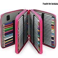 Sumnacon 124 PU cuir Trousse de crayon, sac de crayon pour Dessinateur Professionnelle ou Amateur (Rose)