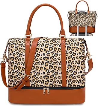 Ladies Travel Weekender Overnight Carry-on Shoulder Duffel Tote Bag With PU Leather Strap Beautiful Beach