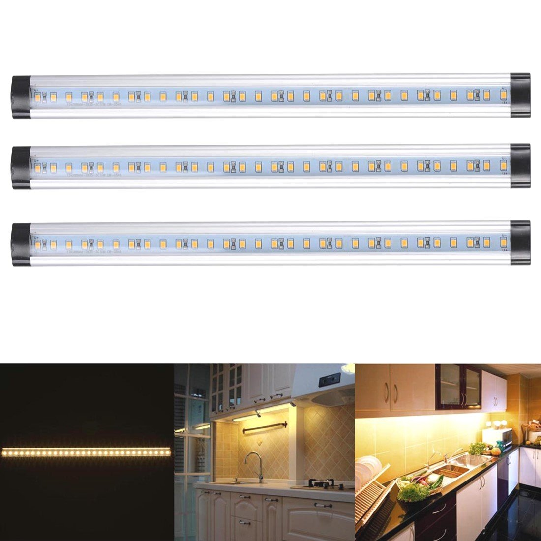 3pcs Kitchen Under Cabinet Shelf Counter LED Light Bar Lighting Kit Lamp White [ Warm White ]