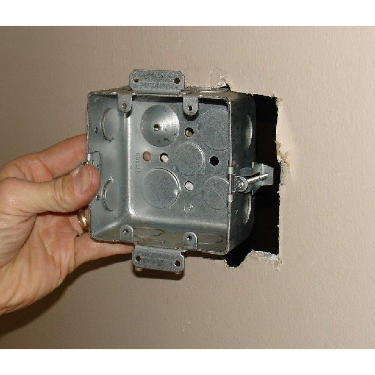 1 Pc, 2-1/8 In. Deep, Two Gang Multi Device Switch Box w/Plaster Ears & Old Work Clips, (4) 1/2 In. & (4) 1/2-3/4 In. Side Knockouts; (2) 1/2 In. & (2) 3/4 In Bottom, Zinc Plated Steel