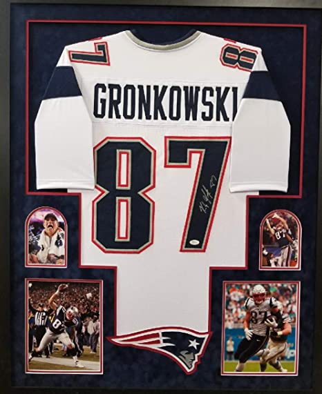 b739340e Rob Gronkowski New England Patriots Autograph Signed White Custom Framed  Jersey Suede Mat JSA Witnesed Certified