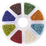 Pandahall 1 Box Mixed Color 12/0 Glass Seed Beads Transparent Silver Lined Loose Spacer Mini Glass Seed Beads, 2mm, Hole 0.5mm (Color-4)