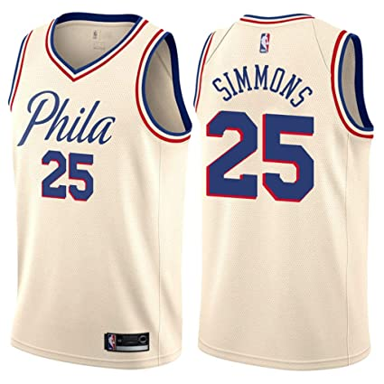7359599dde0 Jordan Men's 2017-18 Philadelphia 76ers #25 Ben Simmons City Edition Cream NBA  Swingman